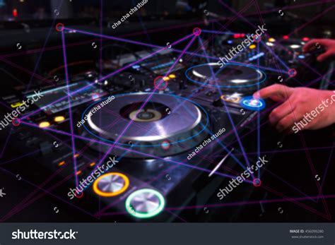 house music dj equipment dj sound equipment nightclubs music festivals stock photo
