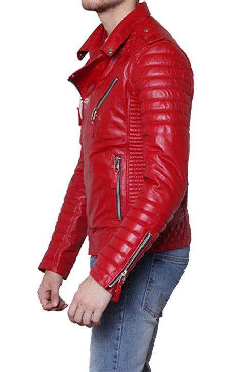 red motorcycle jacket men s padded sleeve red leather motorcycle jacket