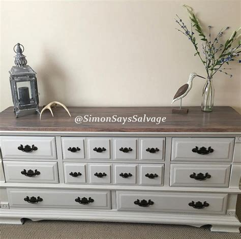 White Dresser With Stained Top by White Dresser With Stained Top