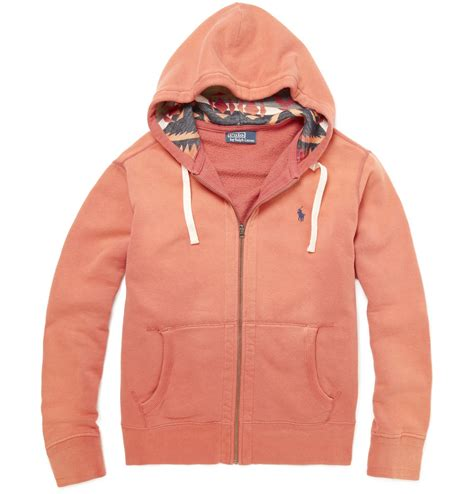 Polos Zip Hoodie polo ralph cotton blend zip up hoodie in orange for lyst