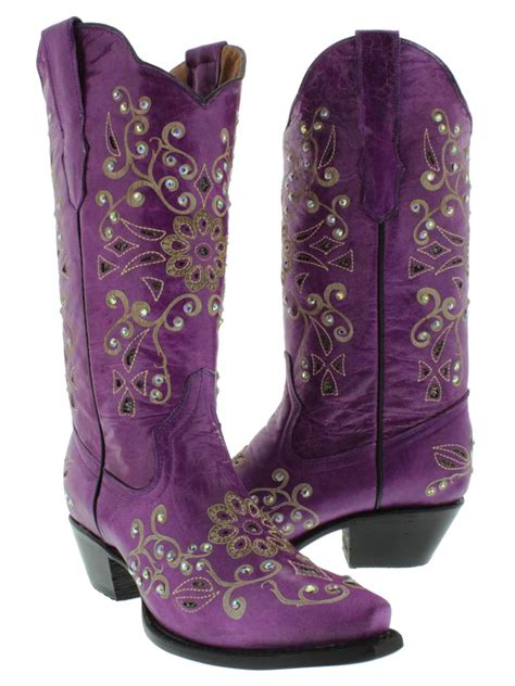 boots purple womens cowboy boots leather rhinestone