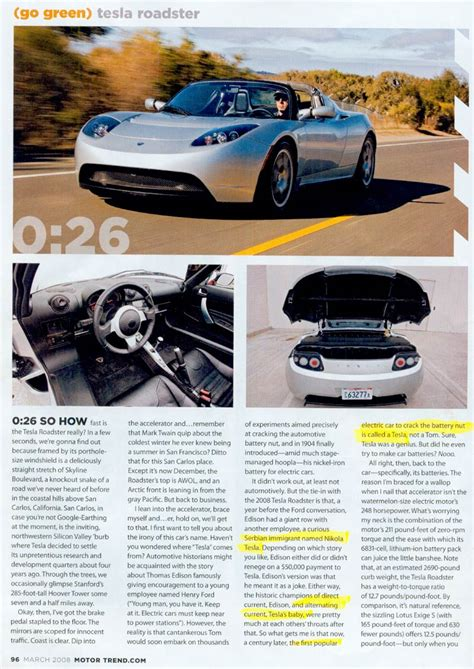 Tesla Car Website The Quot Tesla Roadster Quot March 2008 Motor Trend Magazine