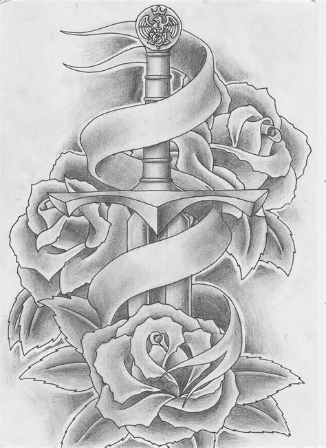 rose and sword tattoo sword and roses by keepermilio on deviantart