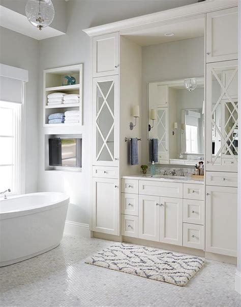 benjamin moore gray owl bathroom white and gray bathroom tv niche across from bathtub