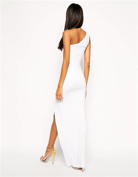 Maxi Ones lyst asos exclusive one shoulder maxi bodycon dress in white