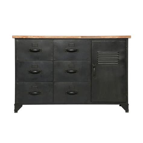 commode 6 tiroirs 1 porte quot torof quot 108cm noir