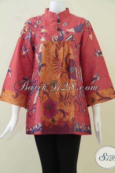 Sajadah Warna Motif Zahra Merah busana batik wanita kombinasi warna merah dan orange motif batik serasi dan elegan bls872p l