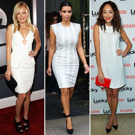 in white dresses and black shoes popsugar