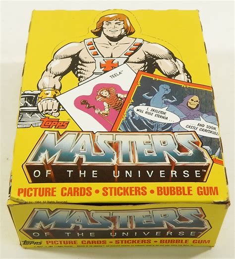 masters of the universe card template 1984 topps masters of the universe cards empty display box
