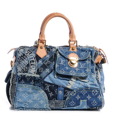 Louis Vuitton Patchwork - louis vuitton denim patchwork speedy 30 blue 63998