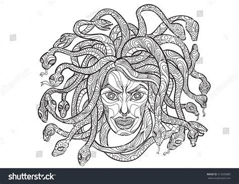 doodle how to make medusa draw medusa zentangle style stock vector