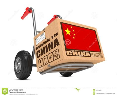 Made White made in china cardboard box on truck royalty free