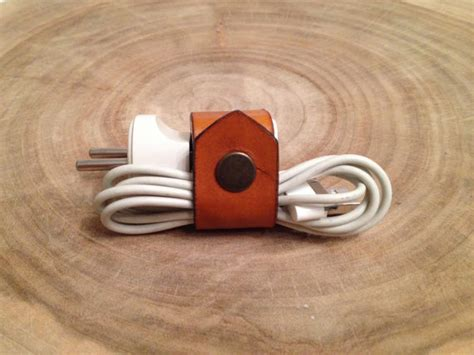 Personalized Leather Charger personalized leather cable clip iphone ipod charger cover