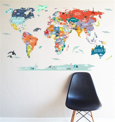 wall sticker map of the world kitchen dining
