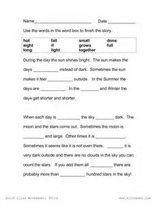 cloze passage worksheets for high educationfifth