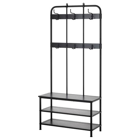 coat rack shoe storage bench pinnig coat rack with shoe storage bench black 193 cm ikea