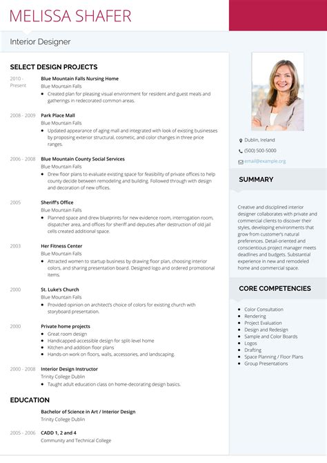 resume format for interior designer freshers 20 eye catching designer resume templates to get a