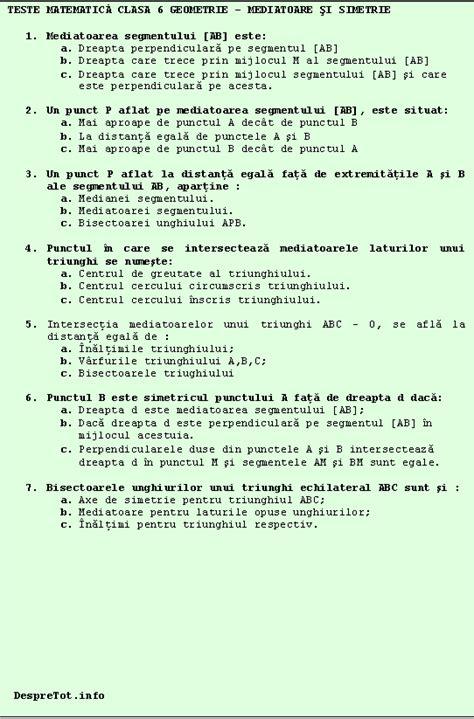 test matematica teste matematicä clasa 6 geometrie â mediatoare si simetrie