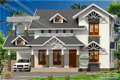 nice house designs nice sloped roof kerala home design kerala home design