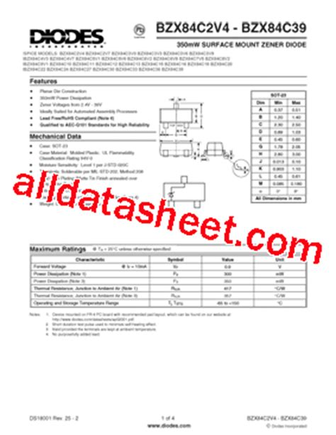 diodes inc bat54 7 f bzx84c33 7 f 데이터시트 pdf diodes incorporated