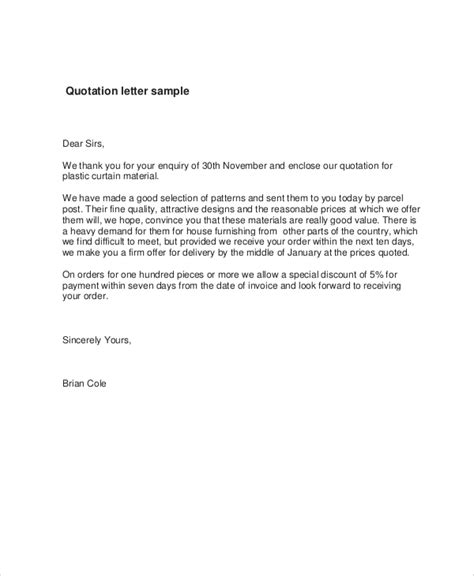 sample quotation letter templates ms word