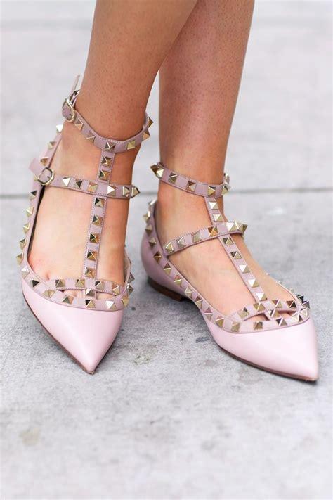 flat valentino shoes light pink ballet flat rockstud valentinos shoe