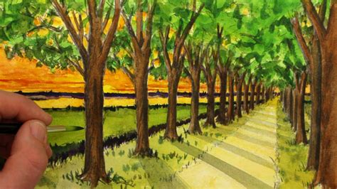 Color Tree how to draw a road with trees in one point perspective
