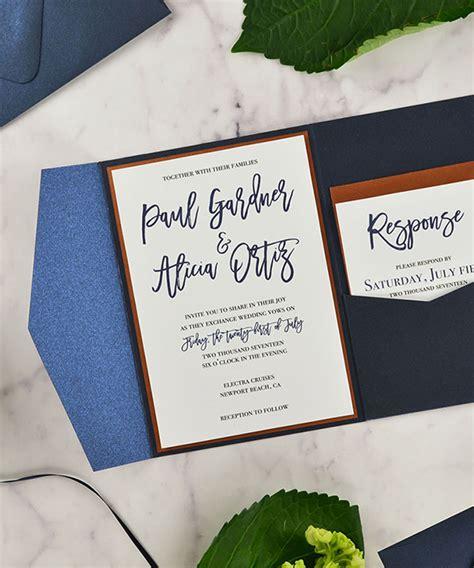 A7 Pocket Card Template by A7 Signature Pocket Invitation Shiny Blue