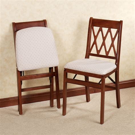 lattice back folding chair pair