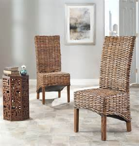 Indoor Wicker Dining Room Chairs St Isla Indoor Wicker Brown High Back Side Chairs Set Of 2 Contemporary Dining