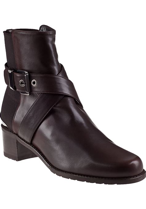 stuart weitzman manlow ankle boot brown leather in brown