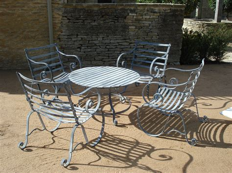 table and chairs with bench metal garden furniture
