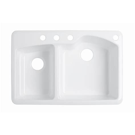 kohler drop in sinks kohler wheatland drop in cast iron 33 in 4 hole double