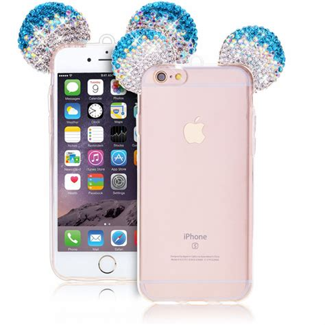 Iphone 6 6s 3d Mickey Minnie Casing Armor Be Murah 3d bling mickey mouse ears clear tpu rubber cover with lanyard for iphone 5