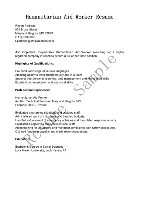 Aid Worker Cover Letter by Resume Sles Humanitarian Aid Worker Resume Sle