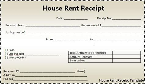 Receipt Template For Something Bought On Craigslist by House Rent Receipt Form Printableform