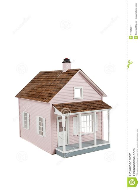 pink wooden doll house pink wooden dollhouse on white royalty free stock