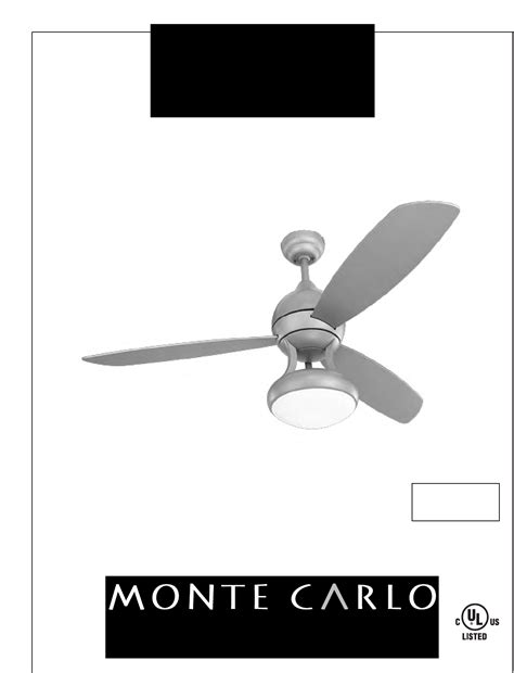 monte carlo ceiling fans manual monte carlo fan company fan 3asr52xxd user guide