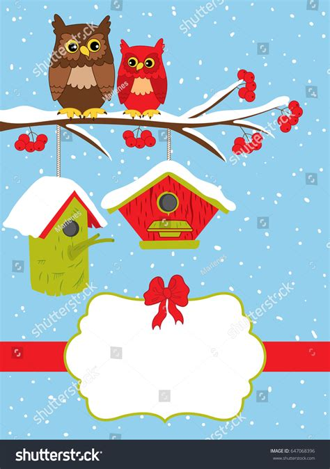 greeting card template with cute owl vector free download vector christmas card template cute owls stock vector