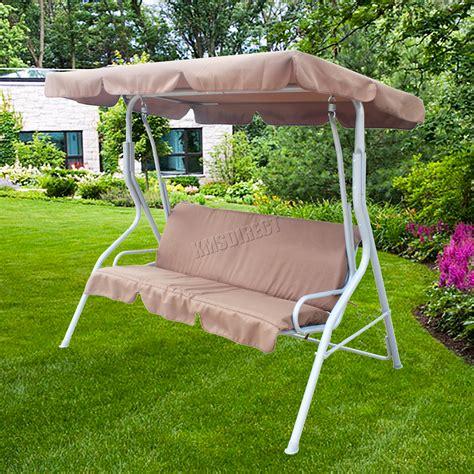 metal garden swing foxhunter garden metal swing hammock 3 seater chair bench
