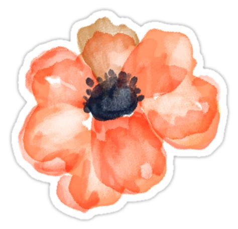 Poppy Wall Sticker quot watercolor flower salmon quot stickers by junkydotcom redbubble