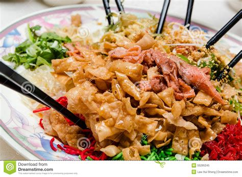 new year tossing of food new year yee sang stock photo image 55295245