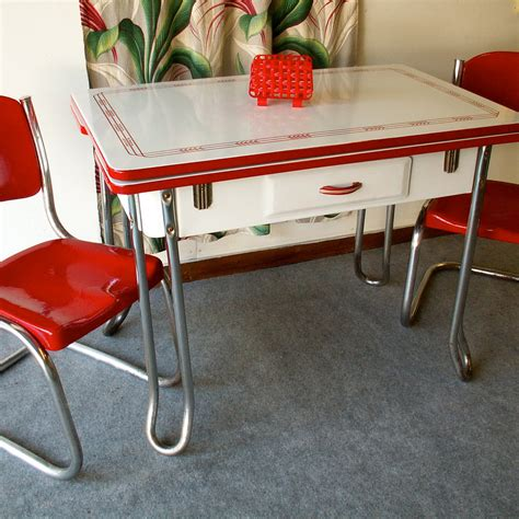 vintage red and white porcelain table