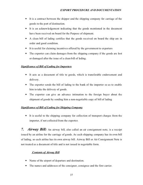 Letter Of Agreement Air Traffic Export Procedure And Documentation Project Report On