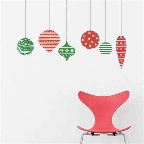 christmas ornaments printed wall decal