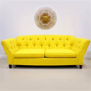 yellow sofa 1960s 70s bright yellow button tufted sofa the modern