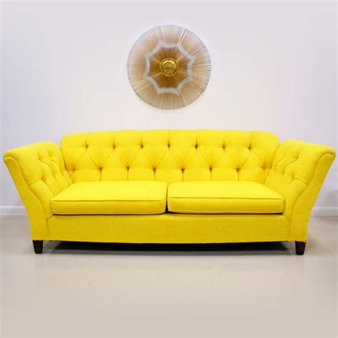 yellow settee bright colored sofas 1960s 70s bright yellow on tufted