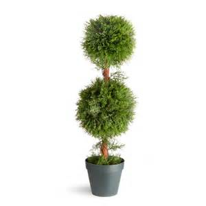 Artificial Topiary Trees Outdoor - 36 inch upright juniper 2 ball topiary tree with round plastic pot