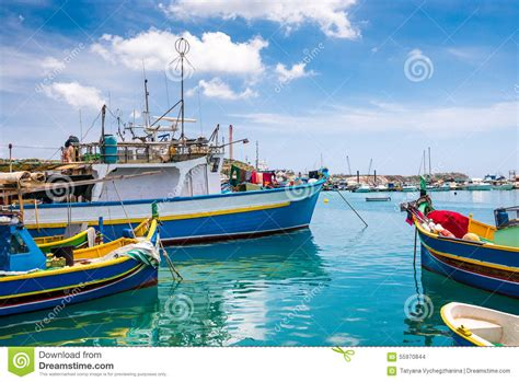 boat dealers malta boats in marsaxlokk harbor royalty free stock image