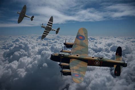 Aviation Decor Home lancaster bomber and spitfires photograph by ken brannen